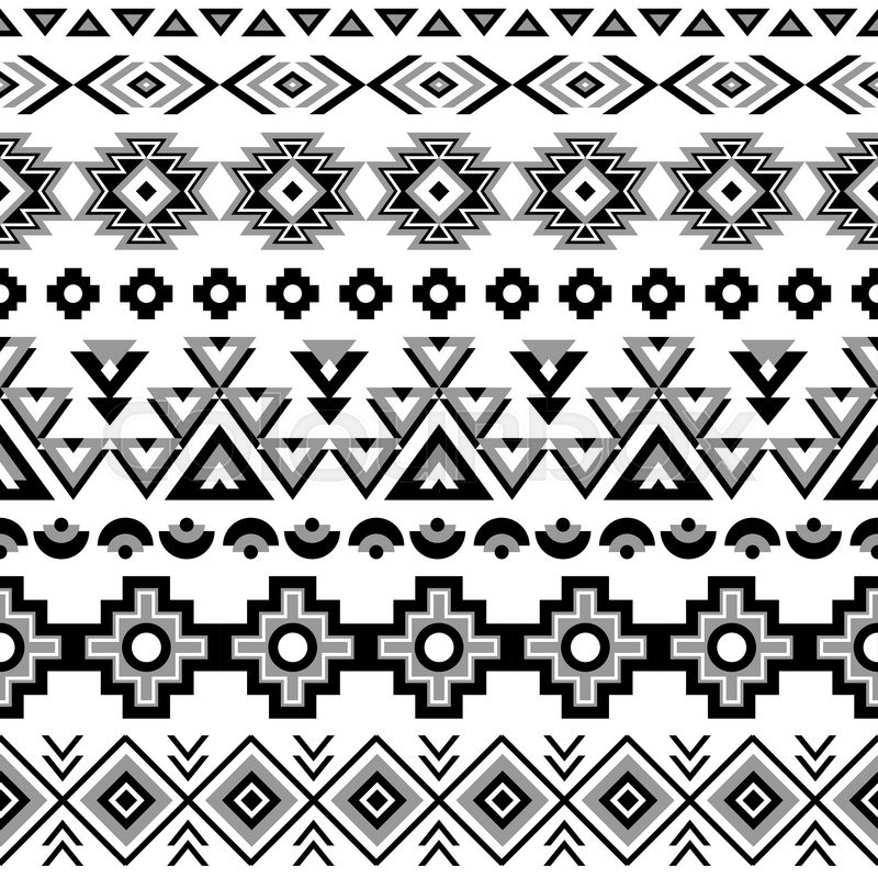 Stock Vector Of Ethnic Seamless Pattern Aztec Black White Background Tribal