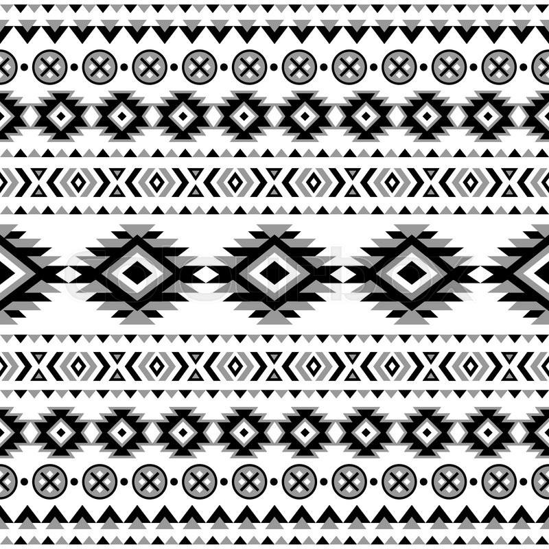 Ethnic Seamless Pattern Aztec Black White Background Tribal Navajo Print Modern Abstract Wallpaper Vector Illustration