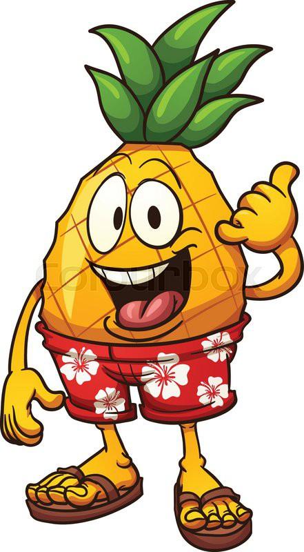 hawaiian pineapple doing the shaka hand sign vector clip art rh colourbox com clipart pineapples blue clipart pineapple free download