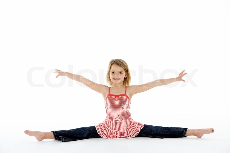 Stock image of 'Young Girl In Gymnastic Pose Doing Splits'