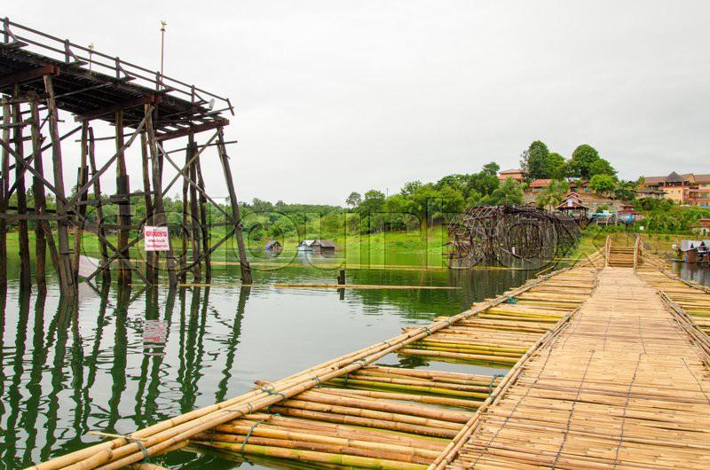 Longest wooden bridge it broken in Thailand, stock photo