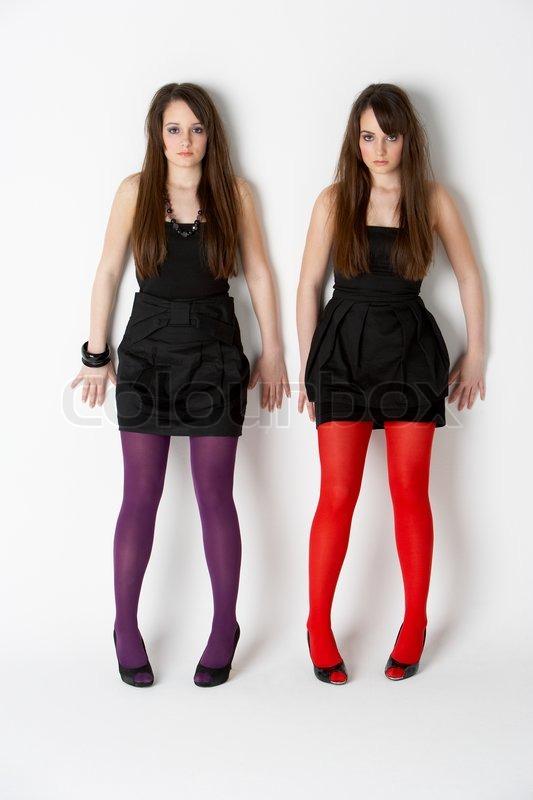 Identical twins pantyhose