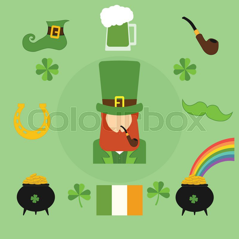 Happy st patrick 39 s day vector illustration icons for Irish mail cart plans