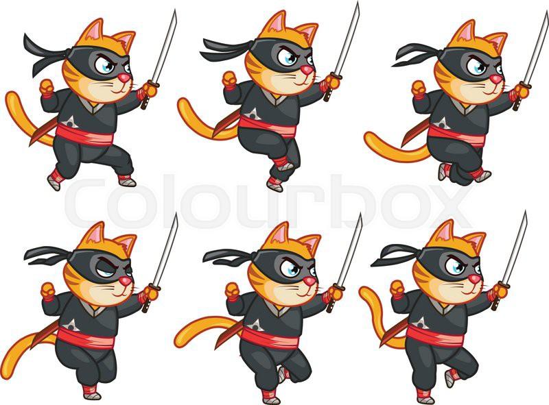 Set Of Vector Illustrations Of Ninja Cat 2d Character Animation