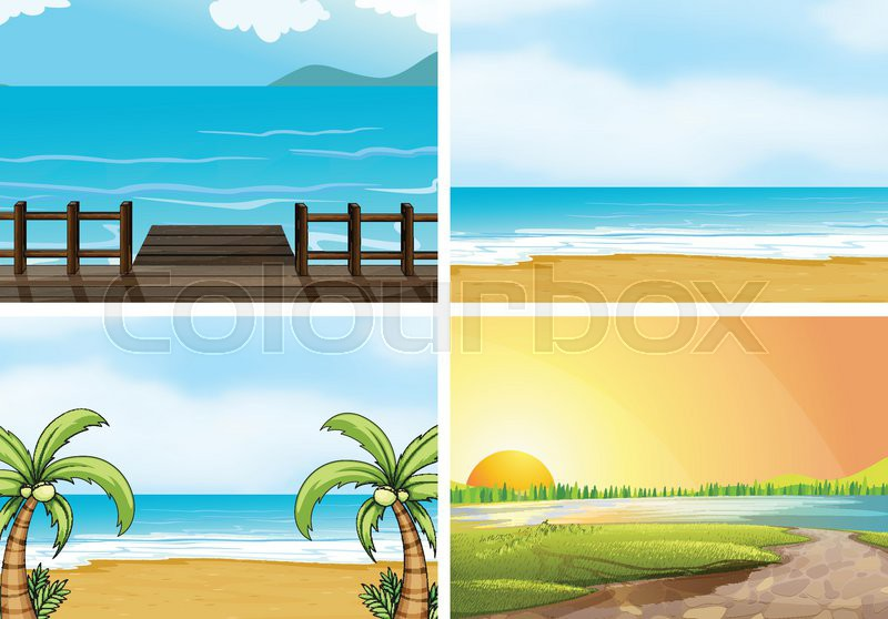 Illustration of four scenes of oceans, vector