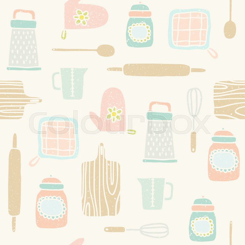 Kitchen Utensils Wallpaper kitchen utensils characters on shelves, sketch drawing for your