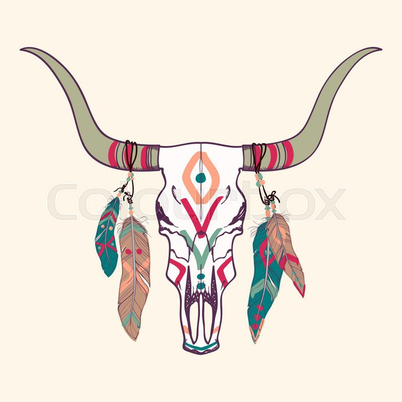Vector Illustration Of Bull Skull With Feathers Stock