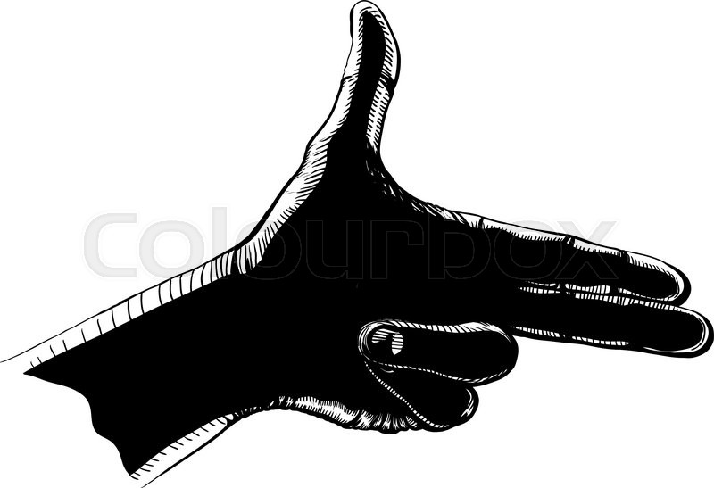 Hand with two fingers like gun posed ... | Stock vector ...