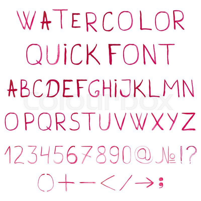 Vector Watercolor Alphabet With Numbers And Symbols Font ABC Painted Letters Simple Brushed Lettering Handwritten