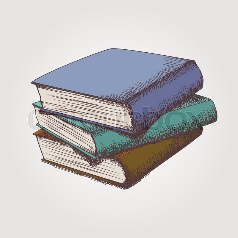 Book Cover Drawing Up : Vector colorful sketch of books stack stock