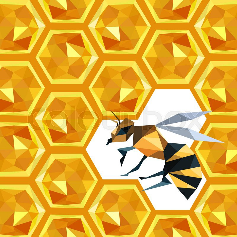 Illustration Of Origami Honeycomb Pattern With Bee