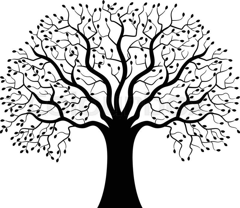 Tree Silhouette With Roots Royalty Free Stock Image