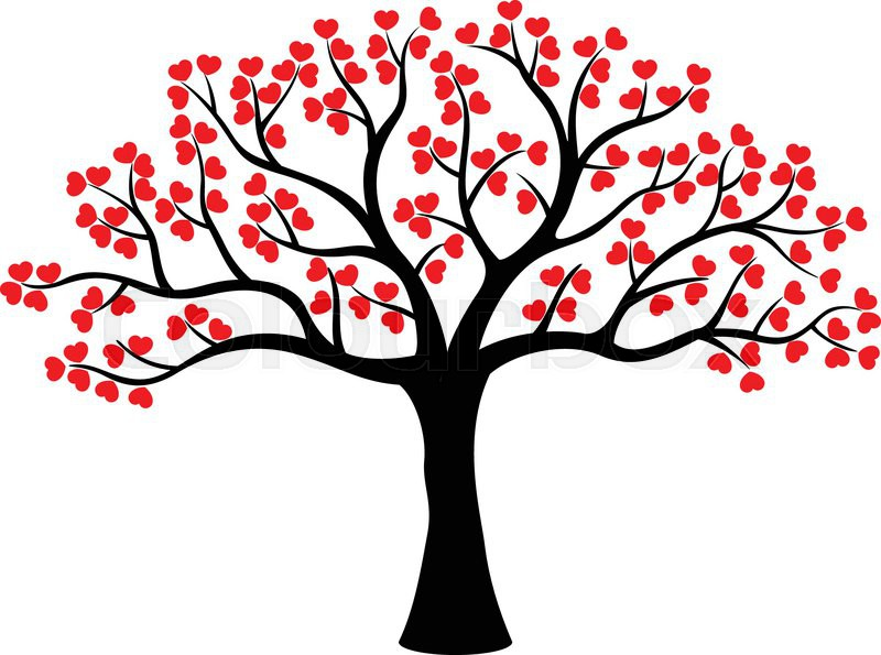 Vector illustration of Stylized love tree cartoon made of ...