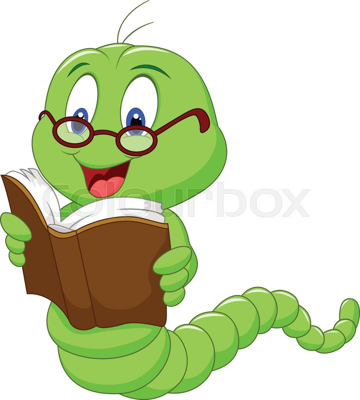 Cartoon Characters Reader : Vector illustration of cartoon worm reading book stock