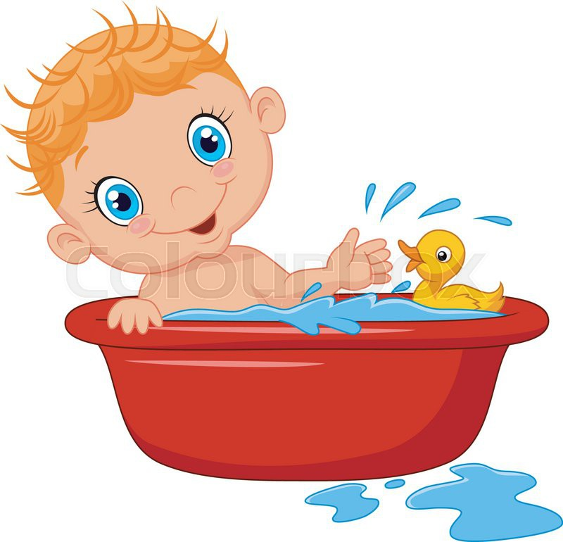 Vector illustration of Cartoon baby in a bath splashing ...
