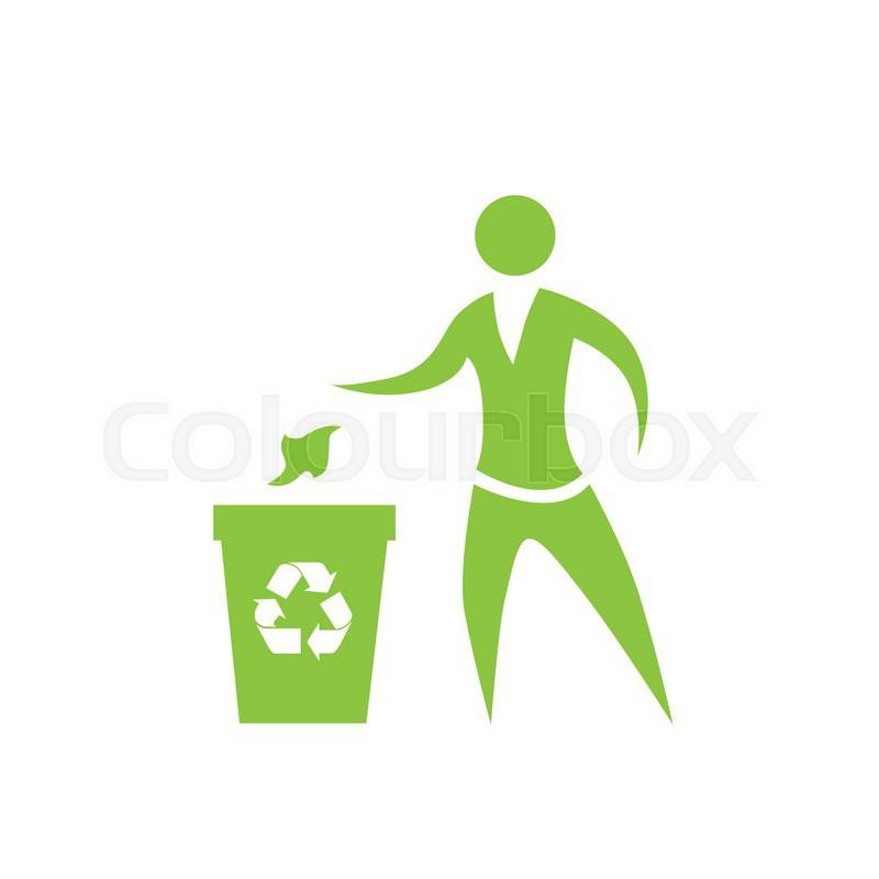 person throw rubbish to recycle bin symbol vector logo