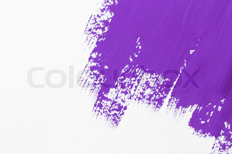 Stroke purple paint brush color water watercolor isolated on white background, stock photo
