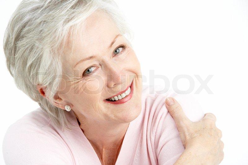 Studio Portrait Of Smiling Senior Woman  Stock Photo -1302