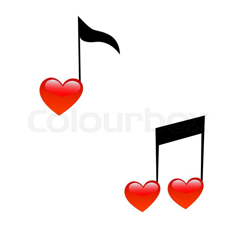 The Symbol Of Music And Love Signs Of Notes In The Form Of Hearts