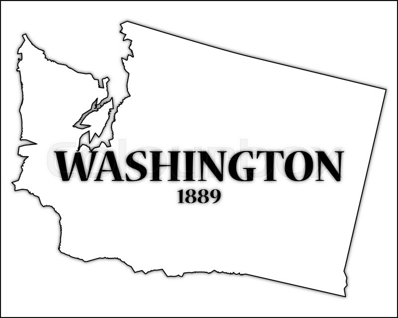 a washington state outline with the date of statehood isolated on a