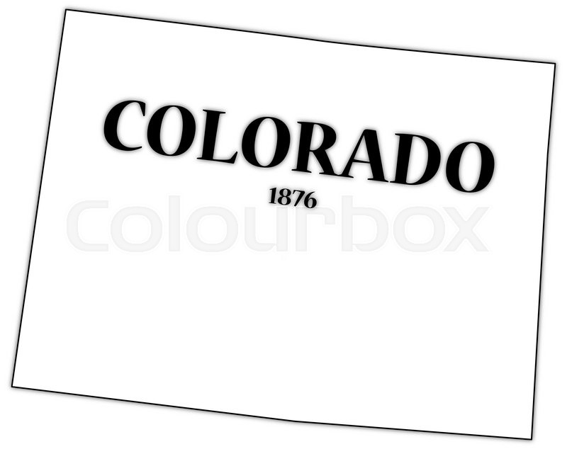 a colorado state outline with the date of statehood isolated on a