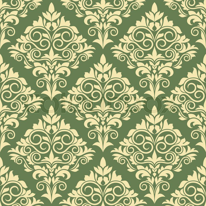 Gothic Yellow Floral Seamless Pattern On Green Background For Wallpaper And Interior Design