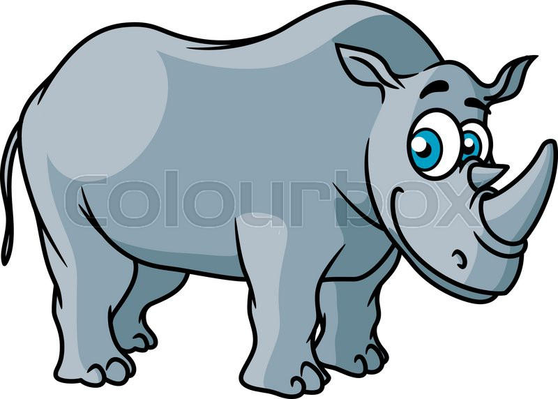 Cartoon grey rhino character with big funny eyes isolated - Rhinoceros dessin ...