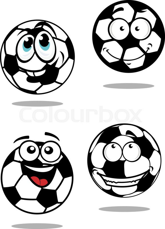 Cartoon Soccer Balls Characters With Stock Vector Colourbox