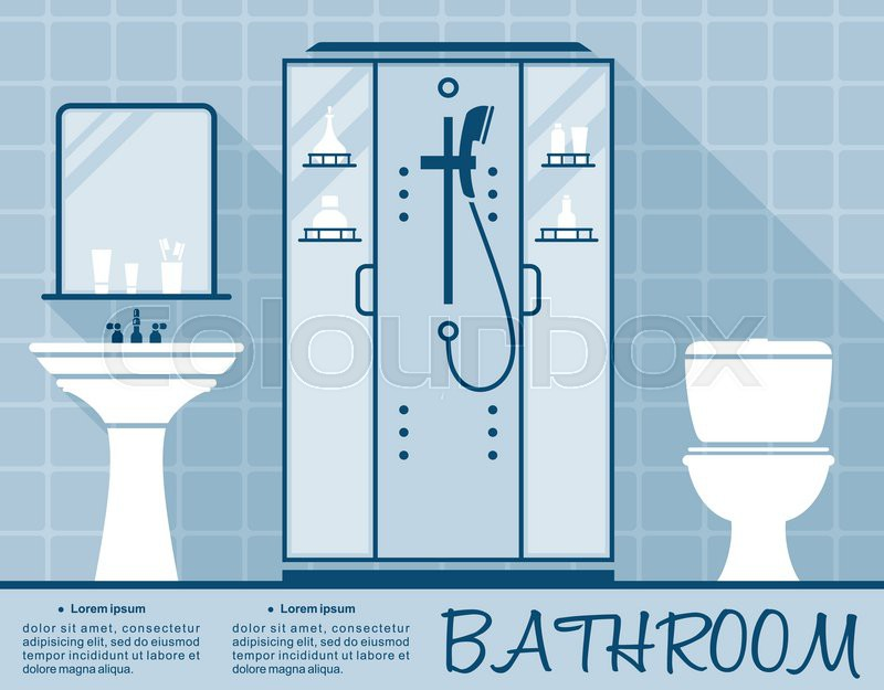 Bathroom Design Infographic Template In Flat Style In Shades Of Blue Of A  Bathroom Interior With Toilet, Shower And Hand Basin Over Editable Text  Space, ...
