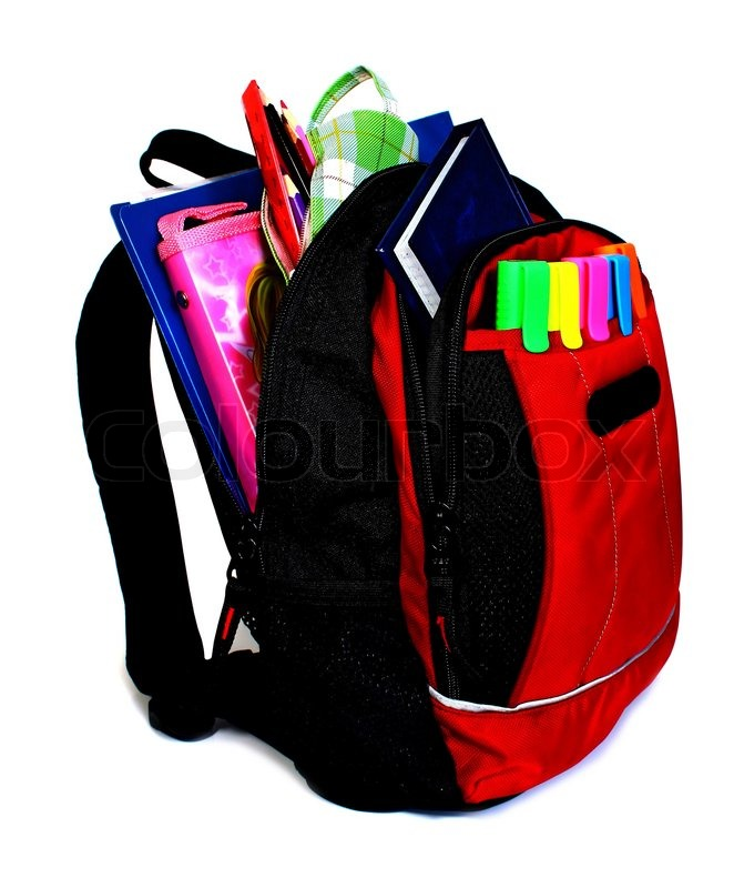 Stock image of 'School backpack isolated on white background'