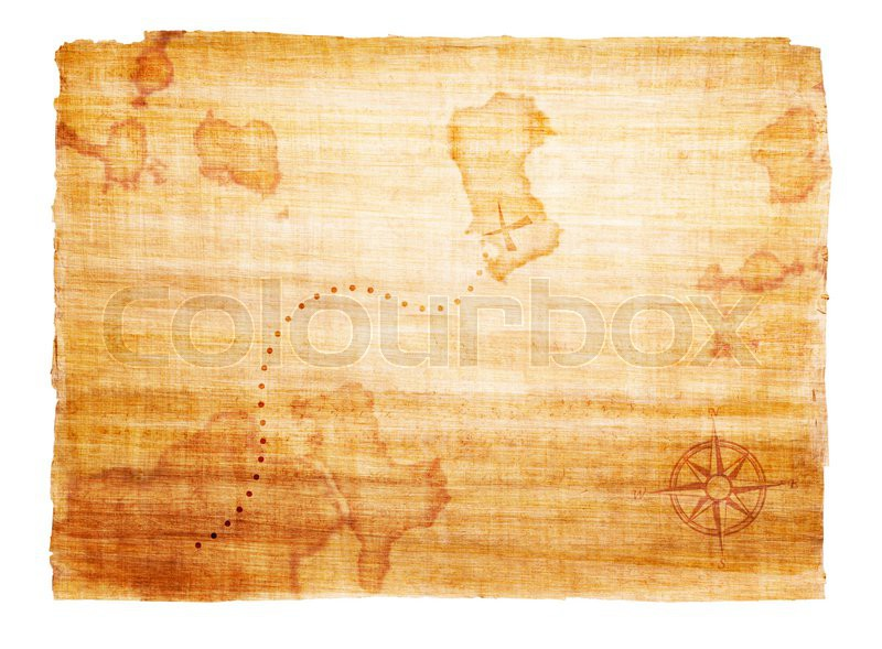 Map Of The World With Compass.Old Treasure Map With Compass Stock Photo Colourbox