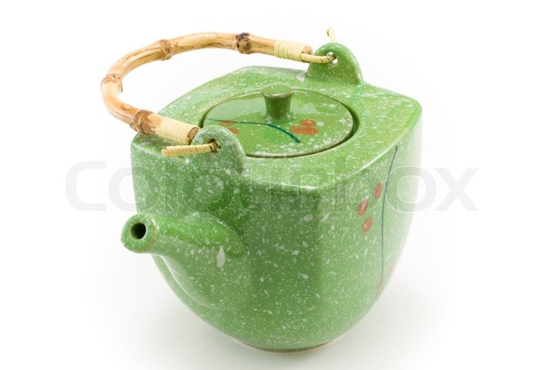 Chinese teapot with bamboo handle insulated on white ...