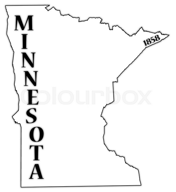 A Minnesota State Outline With The Date Of Statehood Isolated On A White  Background | Stock Vector | Colourbox