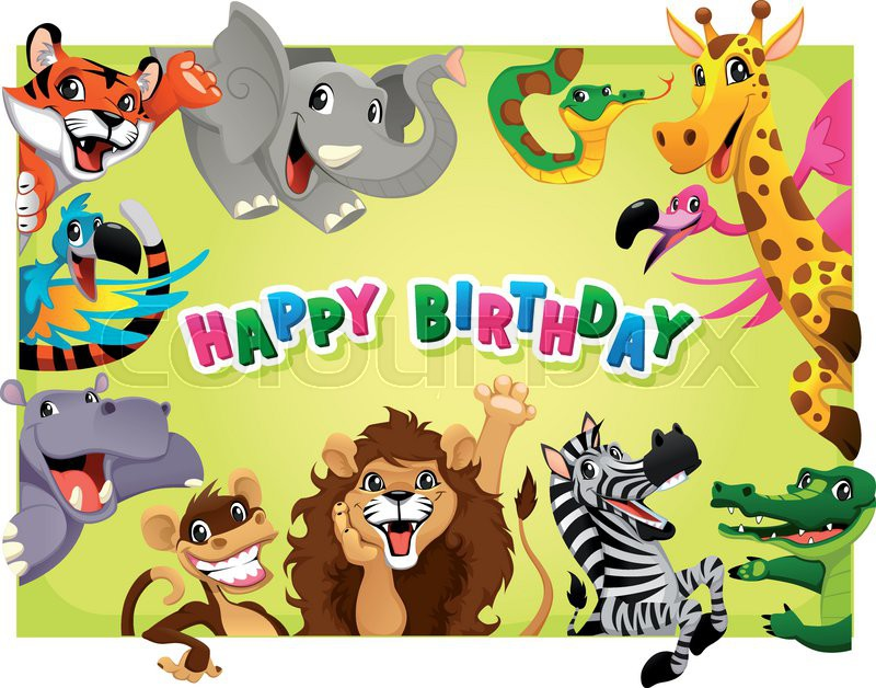 Happy birthday card with jungle animals cartoon vector illustration happy birthday card with jungle animals cartoon vector illustration with frame in a4 proportions vector bookmarktalkfo Images