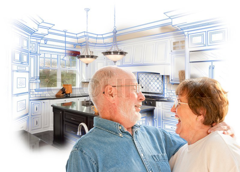Happy laughing senior couple over kitchen design drawing and photo combination on white stock Kitchen design for elderly