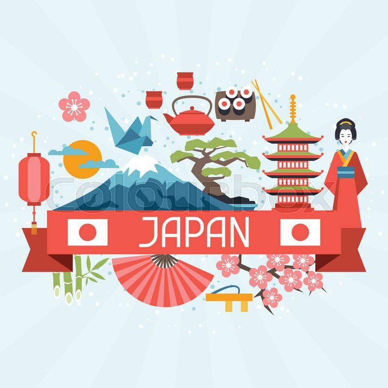 Japan Background Design Illustration On Japanese Theme Stock