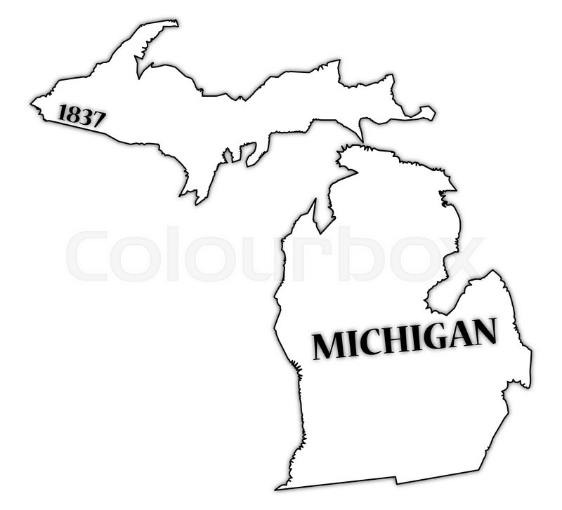 a michigan state outline with the date of statehood isolated on a