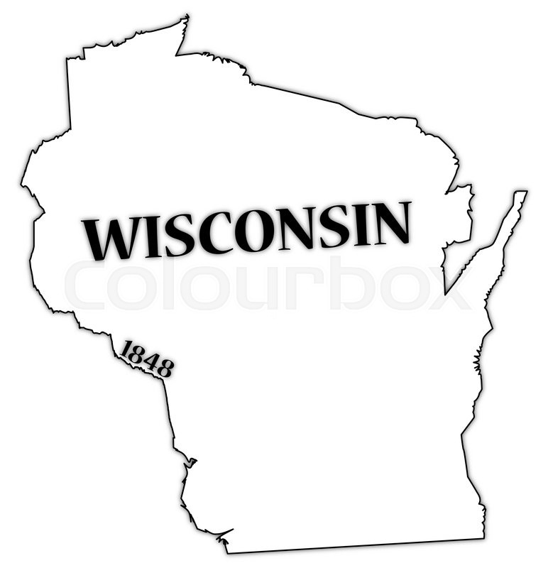 a wisconsin state outline with the date of statehood isolated on a