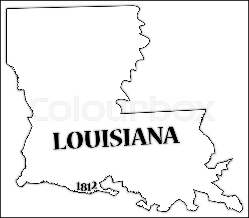 a louisiana state outline with the date of statehood isolated on a