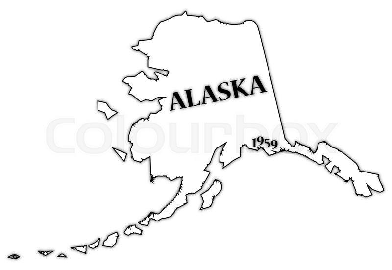 an alaska state outline with the date of statehood isolated on a