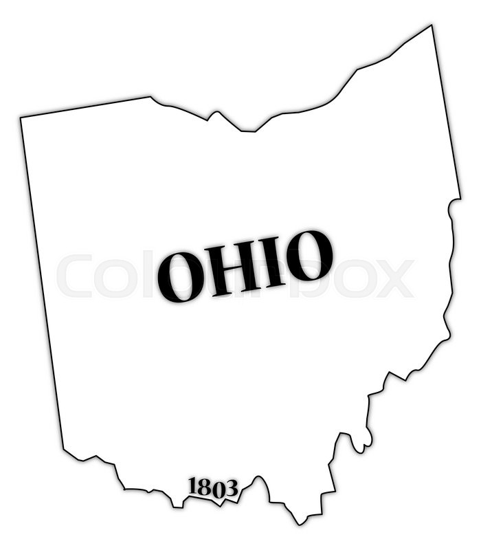 An Ohio State Outline With The Date Of Statehood Isolated On A White