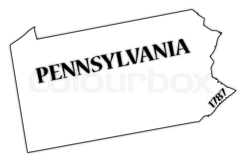 a pennsylvania state outline with the date of statehood isolated on
