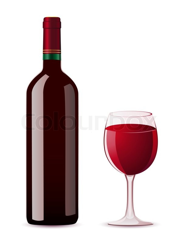 Bottle and glass with red wine illustration stock photo for Red glass wine bottles suppliers