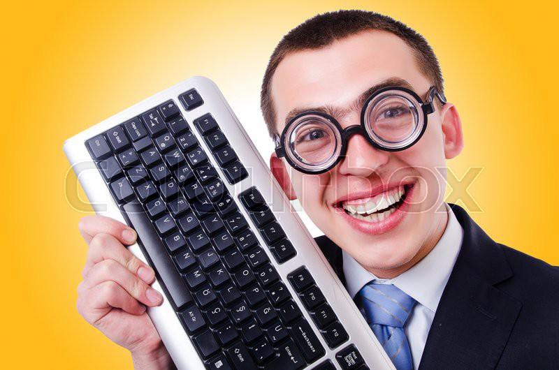 Computer geek nerd in funny concept, stock photo