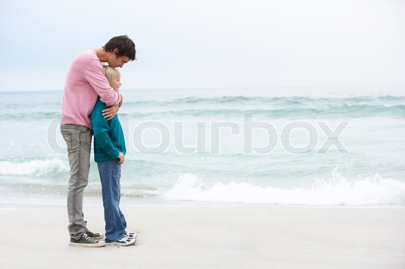 45b261f6d Father And Son Standing On Winter Beach ... | Stock image | Colourbox