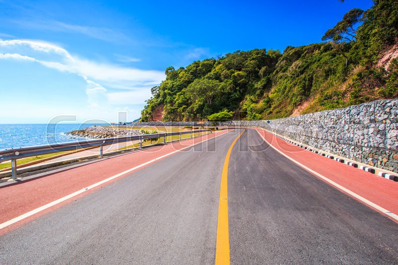 Coastal road mountain highway and sea, stock photo