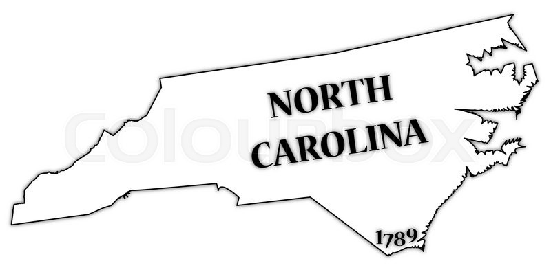 a north carolina state outline with the date of statehood isolated