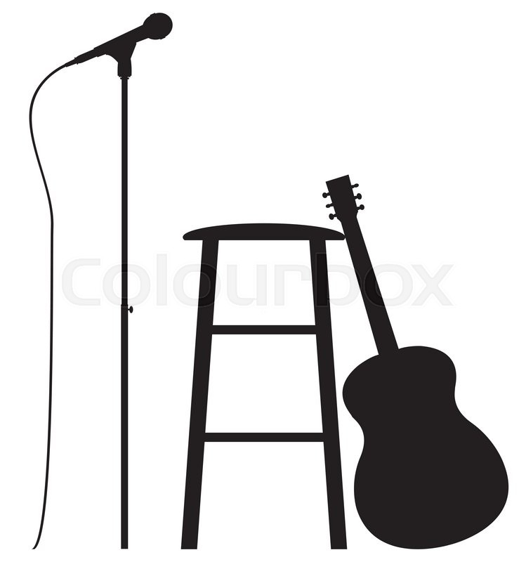 a guitar  stool and microphone silhouette isolated on a sign clip art graphic supply song clipart