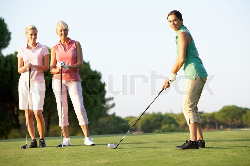 Female Friends On A Golf Course Stock Image - Image of