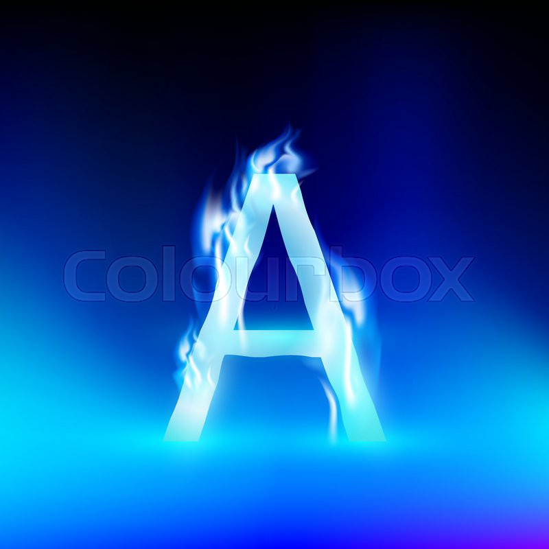 Vector Letter With Blue Fire Stock Vector Colourbox